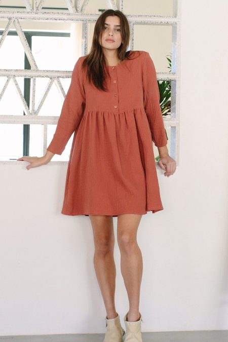 Rachel Pally Rocio Gauze Dress - Persimmon