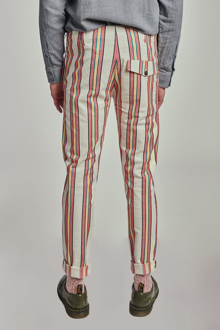 Neutrals Slim Fit Trousers in Italian Stripped Fabric