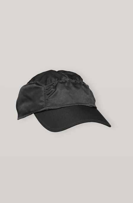 Ganni Satin Ruched Cap - Black
