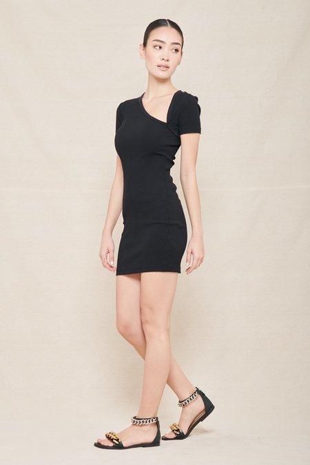 JOHN ELLIOTT COLLECTION Cotton Rib Asym tank Dress - Black