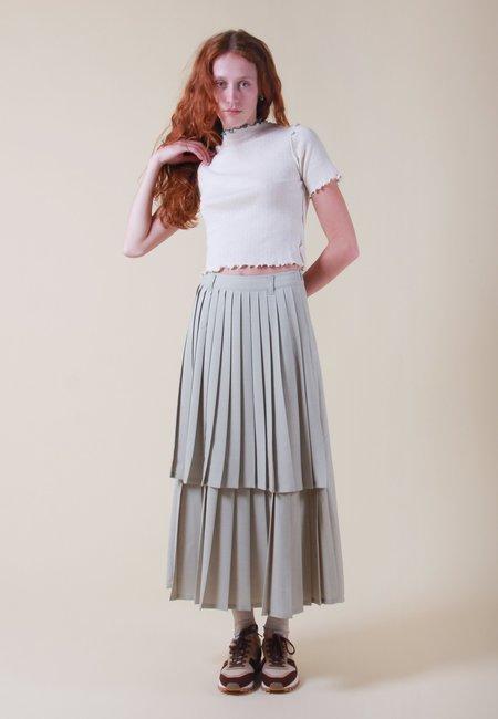 NEUL Sofia Pleats Layer Skirt - fog green