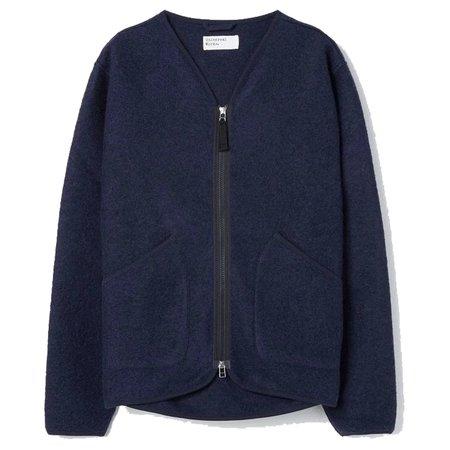 UNIVERSAL WORKS Zip Liner Jacket - Navy Wool Fleece