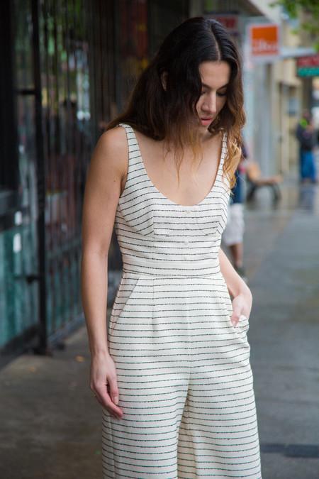 mara hoffman cotton button front jumpsuit