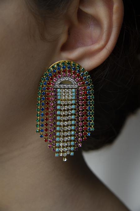 Sandy Hyun Rainbow Cascade Earrings - Gold plated Brass