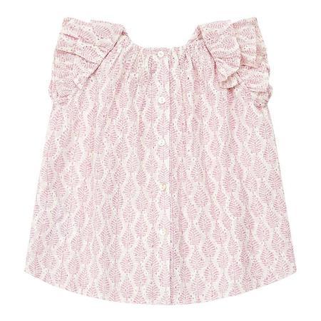 kids Bonton Baby Anna Leaf Print Blouse - Pink