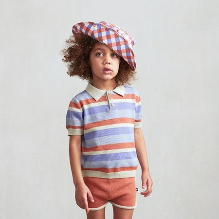 Kids Oeuf Summer Hat With Tie - Flamingo Pink Gingham