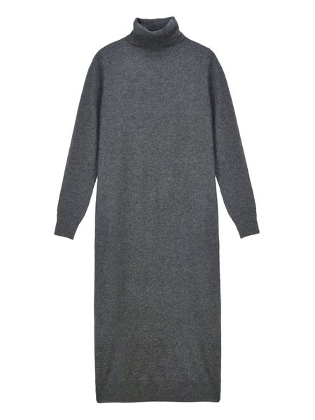 PURECASHMERE NYC Turtleneck Maxi Dress - Graphite