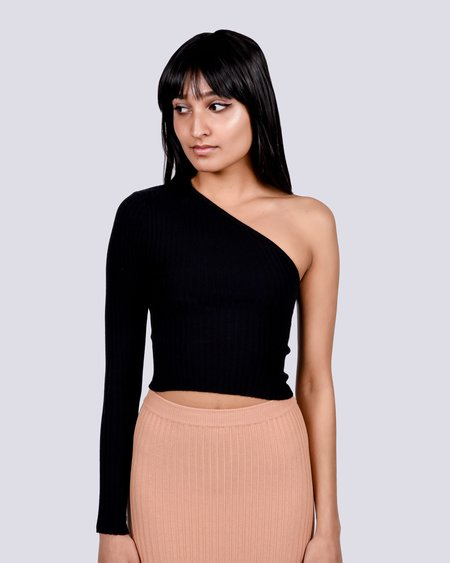 giu giu One sleeve knit top - black