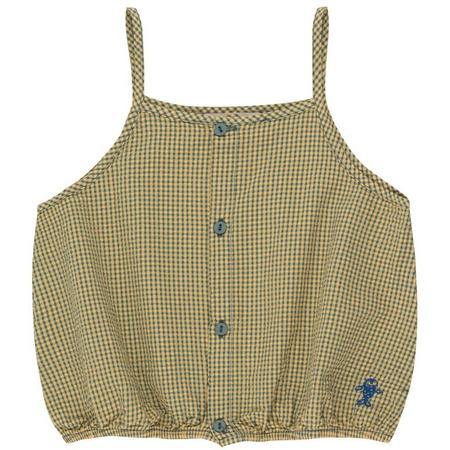 kids tinycottons check straps blouse - yellow/iris blue