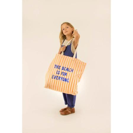 kids tinycottons the beach is for everyone tote bag - yellow/light cream