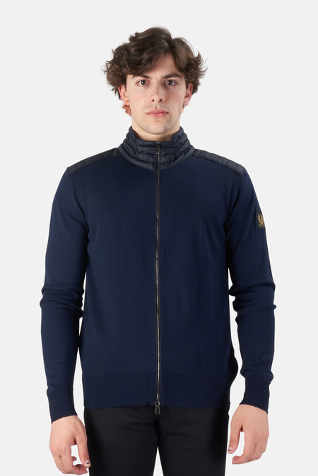 Belstaff Kelby Zip Cardigan Sweater - washed Navy