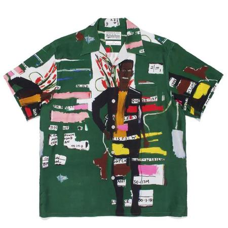 Wacko Maria Jean-Michel Basquiat / S/S Hawaiian Shirt - Green Multi