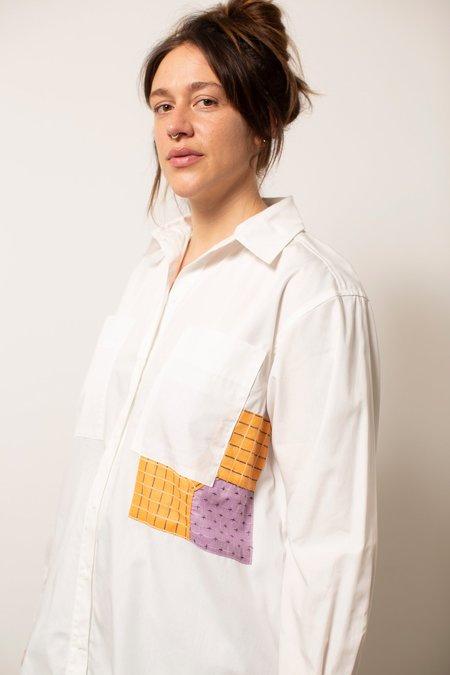 Carleen Patchwork Shirtdress - White