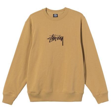 Stussy Stock Embroidered Crew - Khaki/Brown