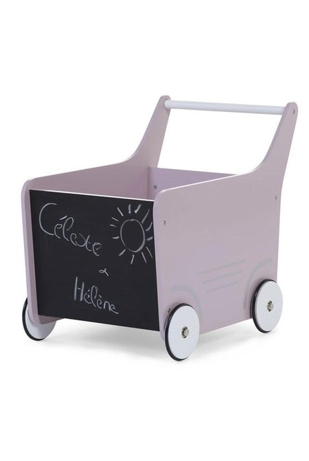 Kids CuddleCo Wooden Toy Stroller - Soft Pink