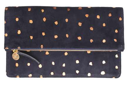 Clare V. Navy Suede Foldover With Rose Gold Mini Spots