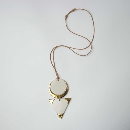 Melted Porcelain Seer Double Necklace - White/Gold