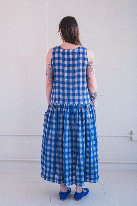 Caron Callahan MYRTLE DRESS - ROYAL GAUZE PLAID