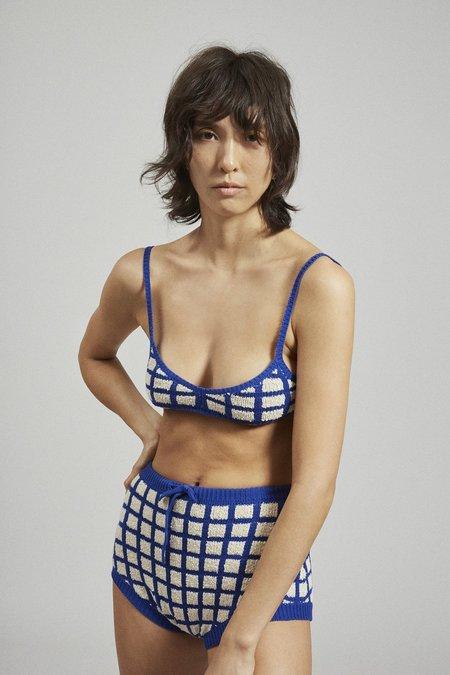Rachel Comey Keanu Bottoms - Blue Grid Boucle