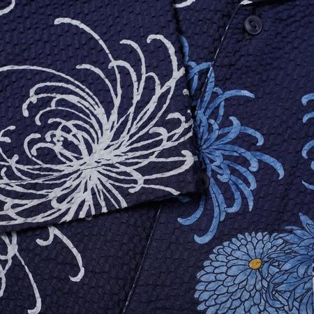 S-UNIVERSALWORKS Open Collar Shirt - Blue Japanese Flower