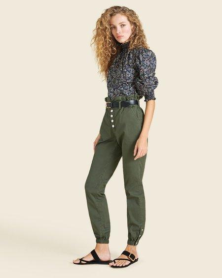 Veronica Beard Tedi Elastic Waist Pant - Army Green