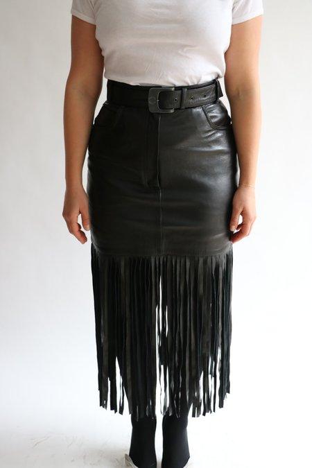 Vintage Claude Montana Leather Fringe Skirt