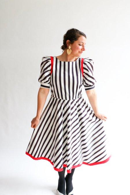 Vintage Joseph Magnin Striped Midi Dress - Navy/White
