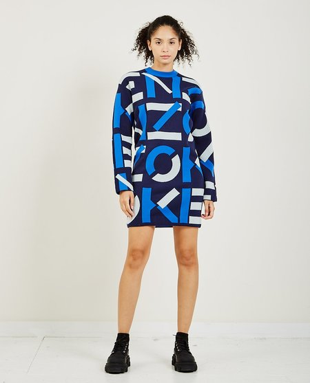 Kenzo Intarsia Logo Dress - midnight blue