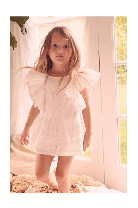 Kids LoveShackFancy Sylvie Flutter Dress - Ivory