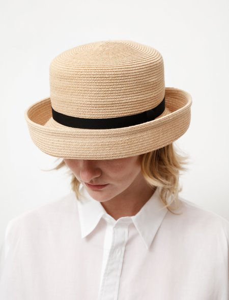 Y's by Yohji Yamamoto Braided Raffia Sailor Hat - Natural
