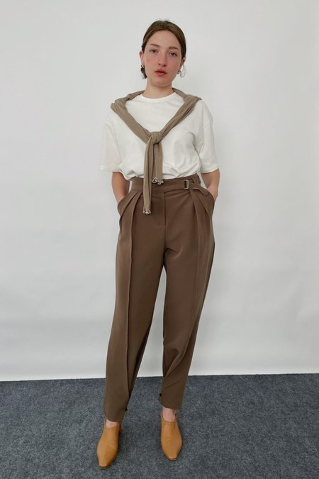 Uncover Two-way Pleat Front Trousers - Dark Beige