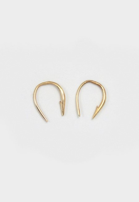 Merewif Small Hook Poke Earrings - Gold