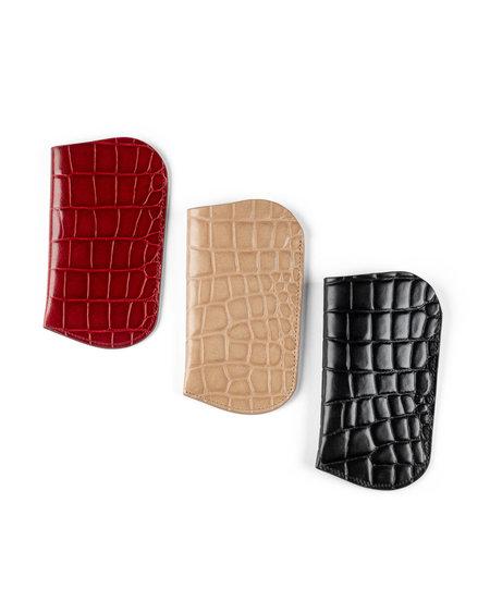 Officina del Poggio Eyeglass Sleeve Embossed Croc bag