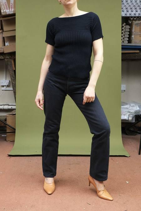 Vintage Armani Skinny Knit top - Navy blue