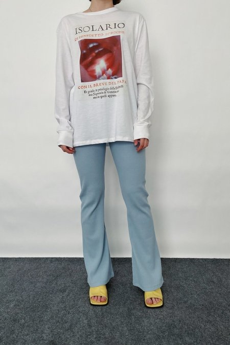 Repeller Cotton Ribbed Bell Bottoms - Skyblue