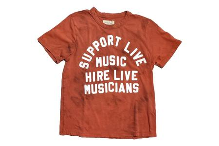 unisex Imogene + Willie reverse dyed support live music tee - red