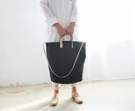 Celina Mancurti Leather Accent Linen Tote - black