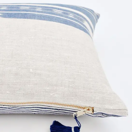 Leif Marin Half & Half Pillow - white/blue