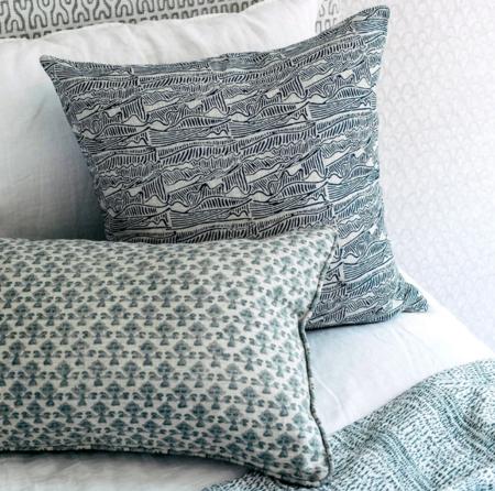 Walter G. Murakami Linen Pillow - Indigo blue