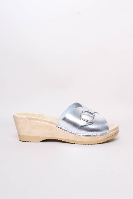 No.6 Abuela on Mid Wedge Clog - Silver