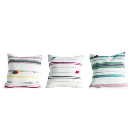 Creative Co-Op Woven Stripe Tassel Pillow - Multi Color