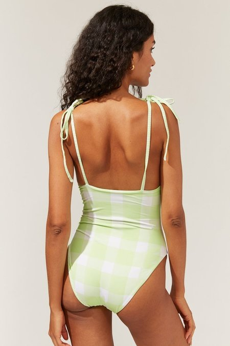 Solid and Striped The Reversible Olympia One Piece - Pistachio Gingham