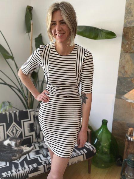 Valerie Dumaine Murielle Dress - Ivory/Navy Stripes