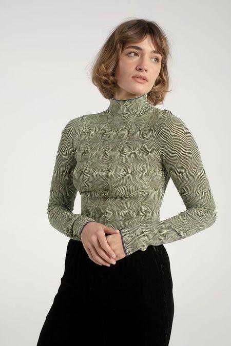 Nomia Long Sleeve Mockneck - Lime/Navy