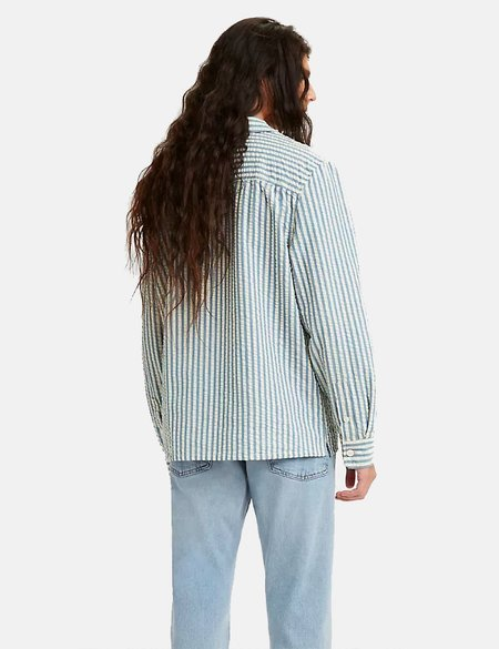 Levis Made & Crafted Camp Shirt - Sea Stripe Blue