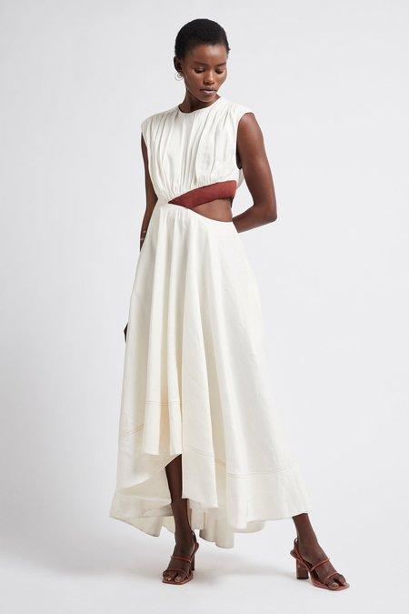 Aje Reflection Cut Out Dress - Ivory/Mahogany