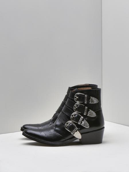 Toga Pulla Leather Buckled Boot - Black