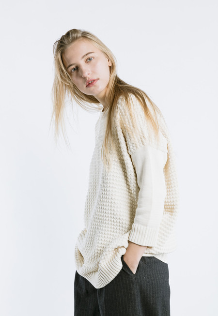 Thinking MU Square Knit Dress in Off White
