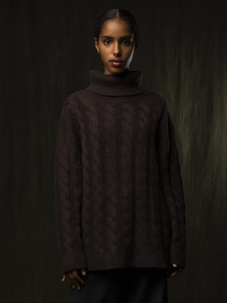 PURECASHMERE NYC Classic Cable Knit Tunic - Castle Brown