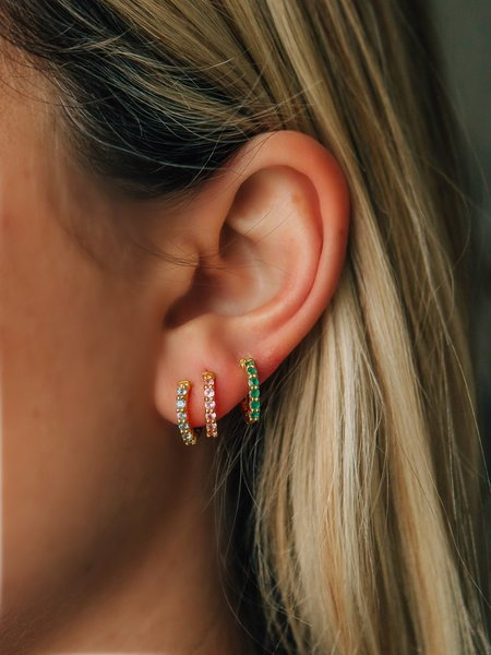 Sierra Winter Jewelry Karma Hoop Earrings - Pink Sapphire